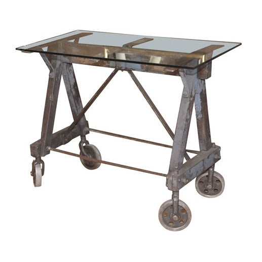 Saw Horse Industrial Table At 1stdibs