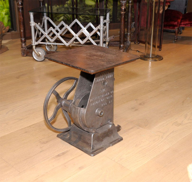 Industrial Crank Side Table At 1stdibs