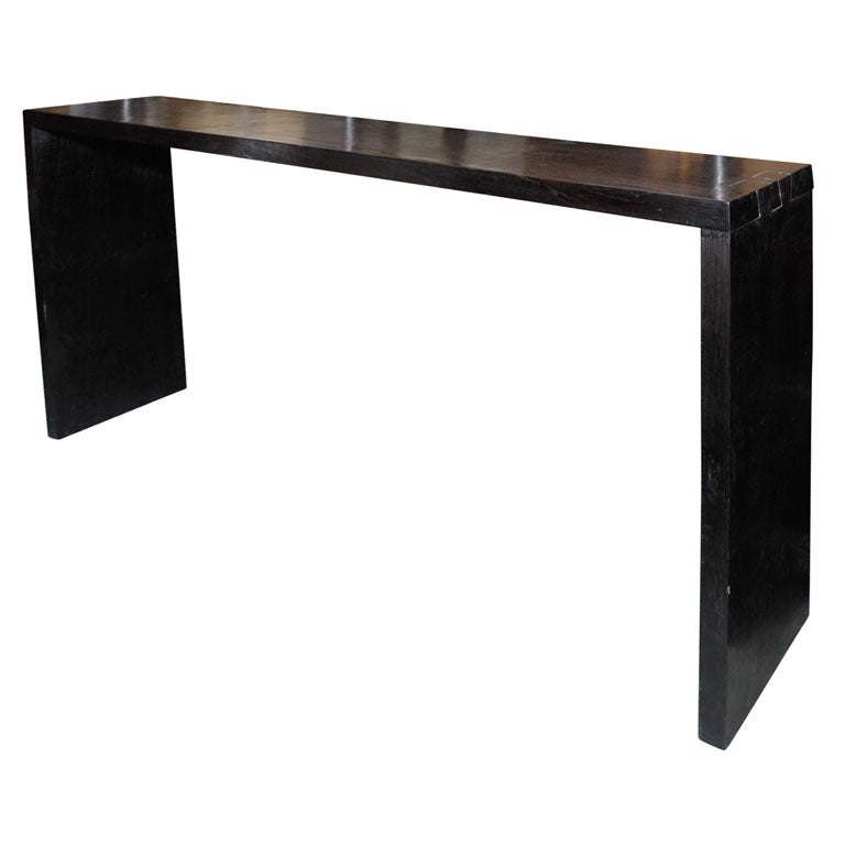 Tall black extra large teak console table ref 7098 at
