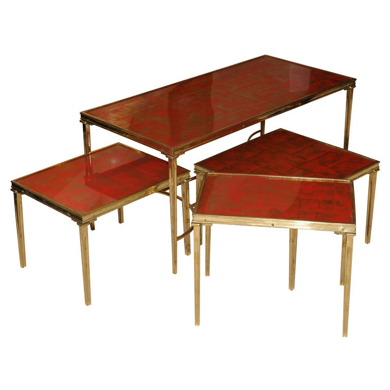 Unique set of four bagues cocktail tables at 1stdibs for Unusual cocktail tables