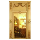 Antique French painted trumeau with sconces.