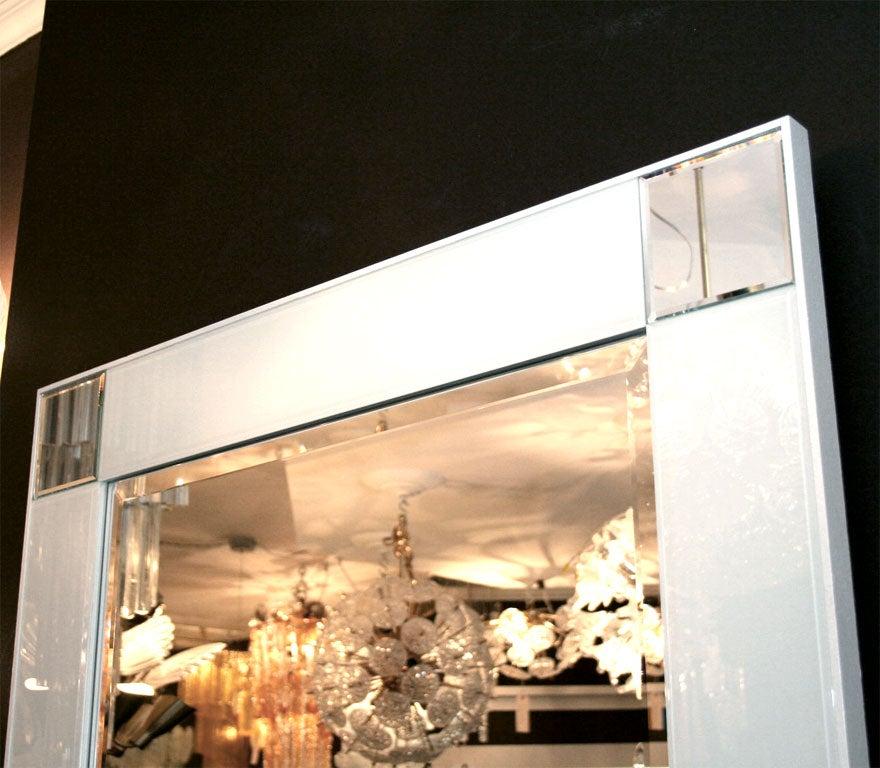 Custom white glass mirror at 1stdibs for Custom mirror glass