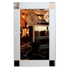 High Style Modern White Glass Mirror