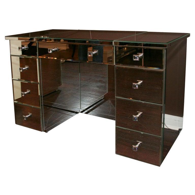 Modern Flip-Top Mirrored Vanity Desk