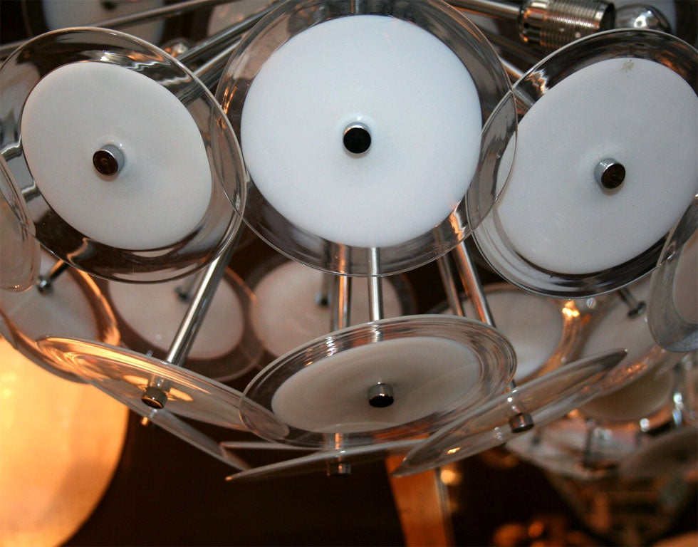 Italian White Disc Sputnik Chandelier For Sale