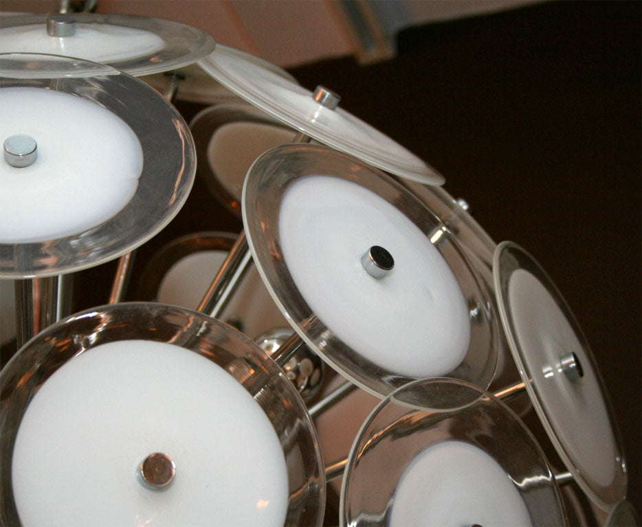 Mid-20th Century White Disc Sputnik Chandelier For Sale