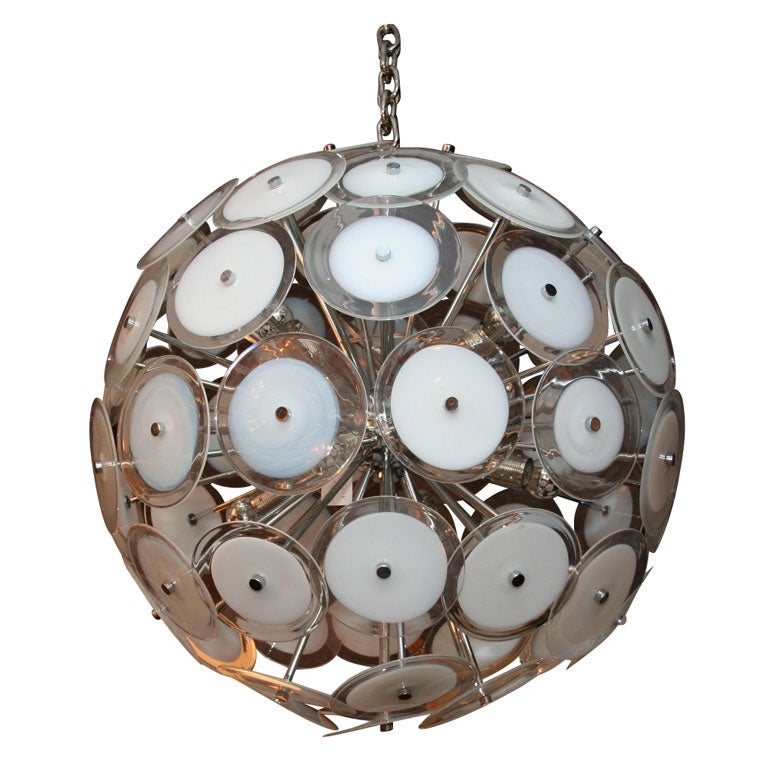 White Disc Sputnik Chandelier For Sale