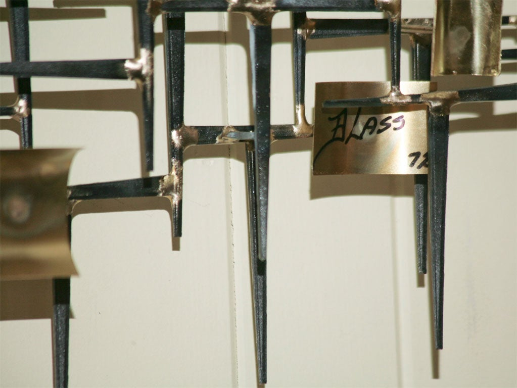 NAIL METAL SCULPTURE WALL PIECE BY LOU BLASS DATED 1972 at 1stdibs