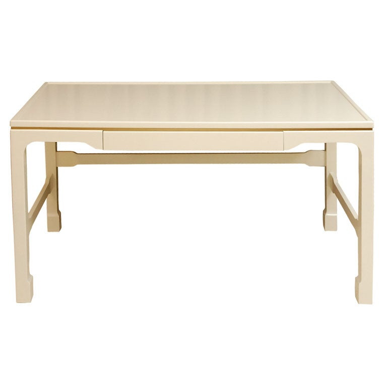 Bone Lacquered Writing Desk With Gold Leafed Trim Band At