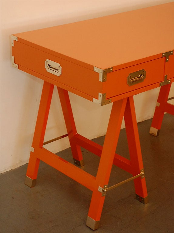 Tangerine Campaign Desk And Chair At 1stdibs