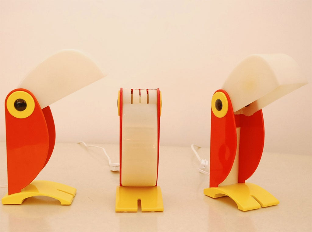 Whimsical toucan table lamp by Verner Panton.  Plastic beak lights up in low and high dimmer.  Great for nursery! Priced Individually.