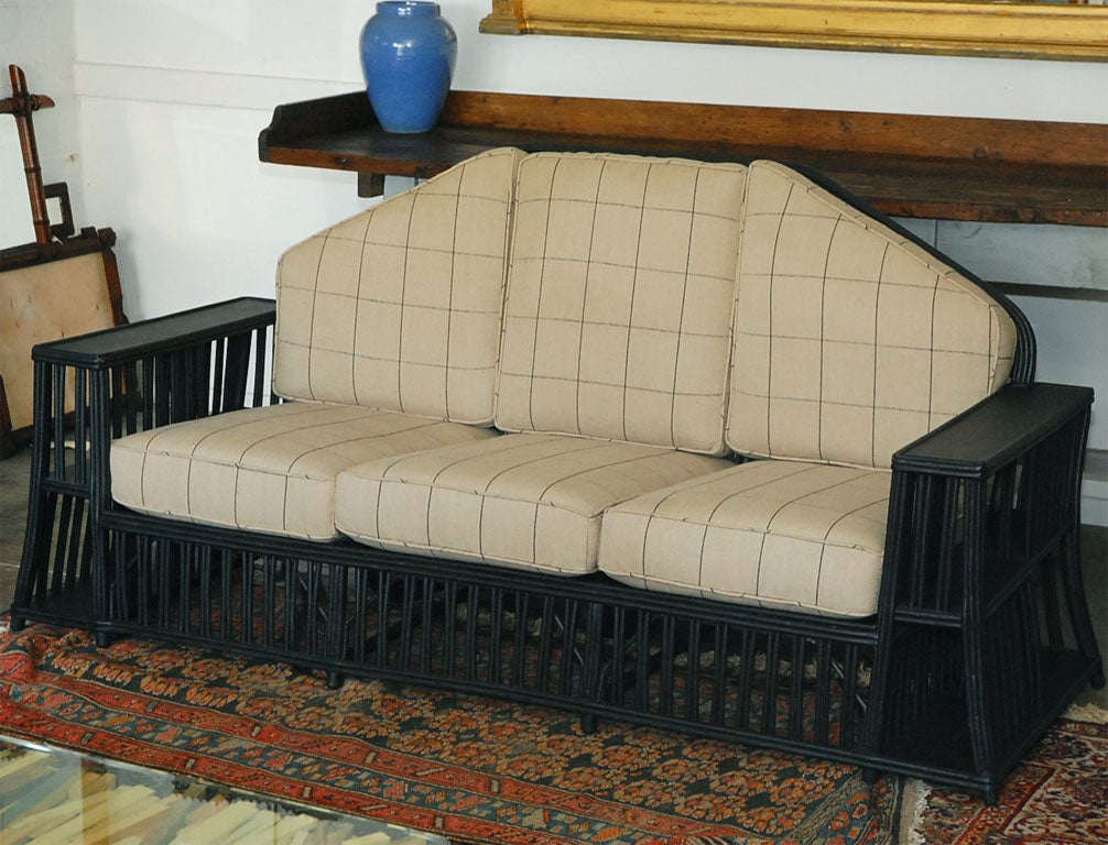 American Craftsman Three seater Wicker Settee For Sale