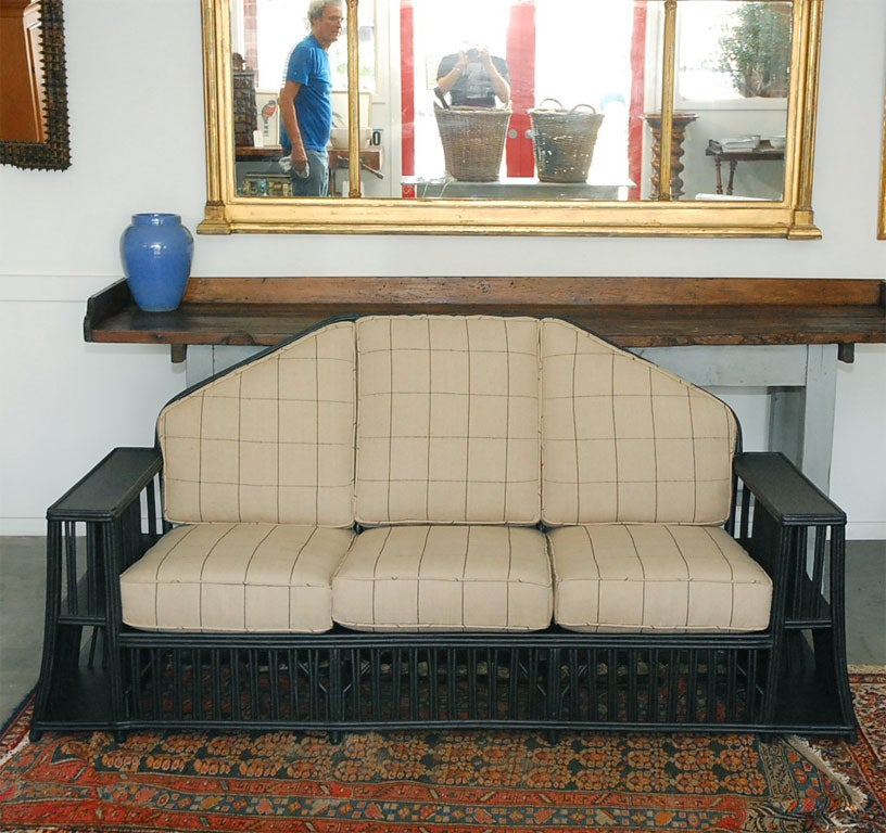 Three seater Wicker Settee In Good Condition For Sale In Culver City, CA