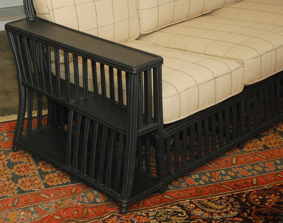 20th Century Three seater Wicker Settee For Sale