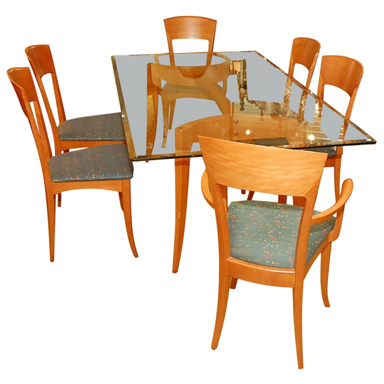 Italian dining table with six chairs by a sibau at 1stdibs for Dining room table and 6 chairs
