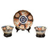 19th Century Japanese Imari Scalloped Plate and Pair of Bowls