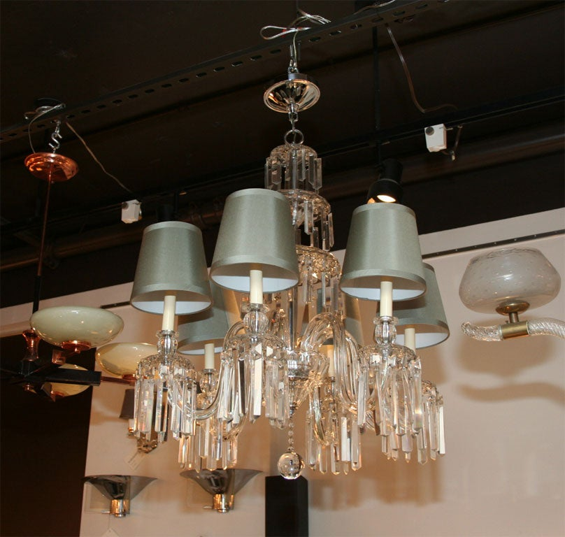 Large cut out dome metal lighting pendant shades cream - Spectacular 1940 S Hollywood Crystal Chandelier At 1stdibs