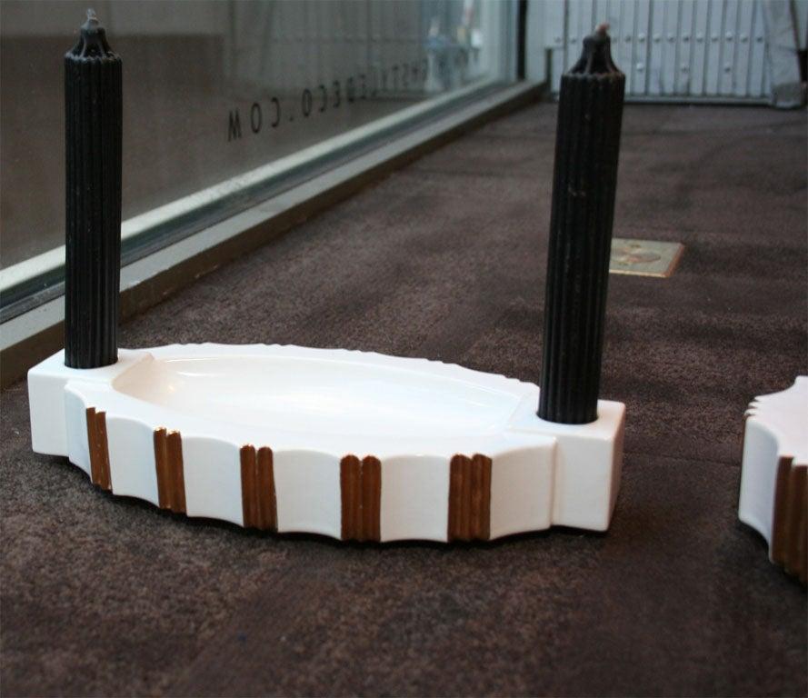 Luxembourgish Art Deco Three-Piece Ceramic Center Piece Set by ROBJ, Paris For Sale