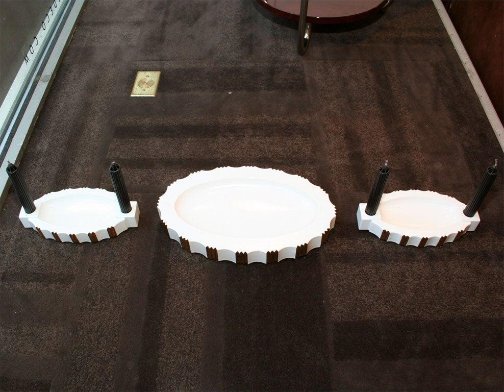 Art Deco Three-Piece Ceramic Center Piece Set by ROBJ, Paris For Sale 2