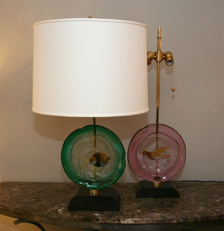 A pair of Italian art glass table lamps by Barbini. Shades not included