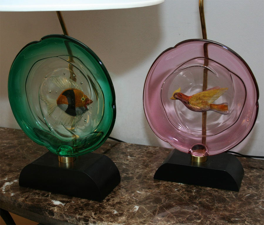 Mid-20th Century Pair of Italian Art Glass Table Lamps by Barbini For Sale