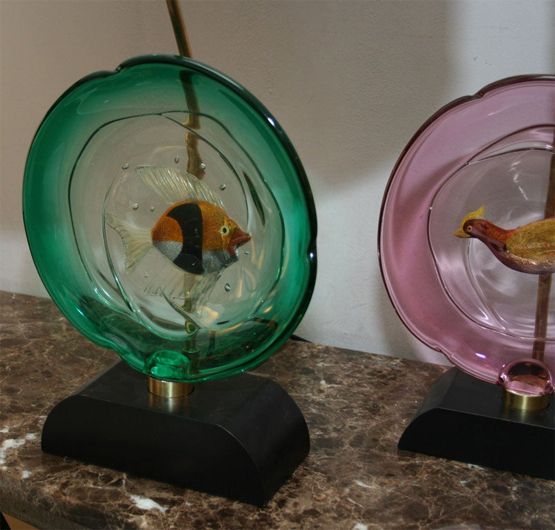 Silk Pair of Italian Art Glass Table Lamps by Barbini For Sale