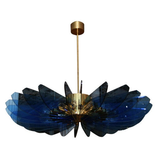 Crystal and Brass Hanging Fixture by Fontana Arte