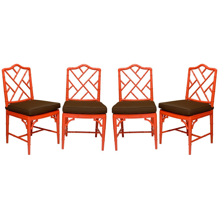 Red chippendale dining chairs at 1stdibs for Red dining room chairs