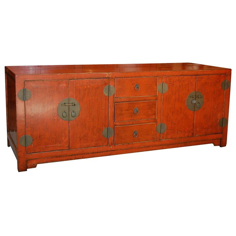 Sienna lacquer low profile console cabinet at stdibs