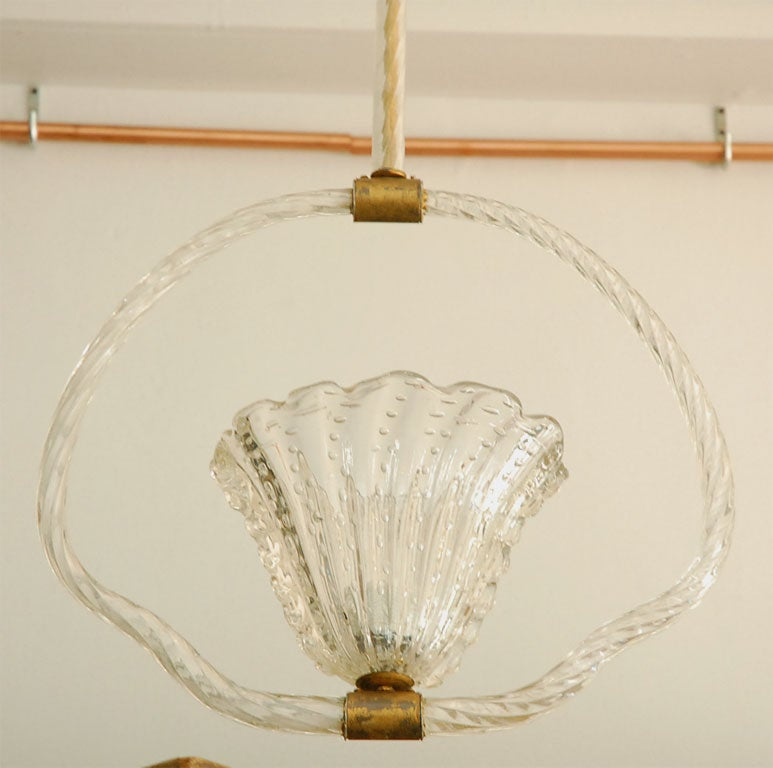 Mid-Century Modern Clear Murano Bubble Glass Hanging Light by Barovier & Toso For Sale