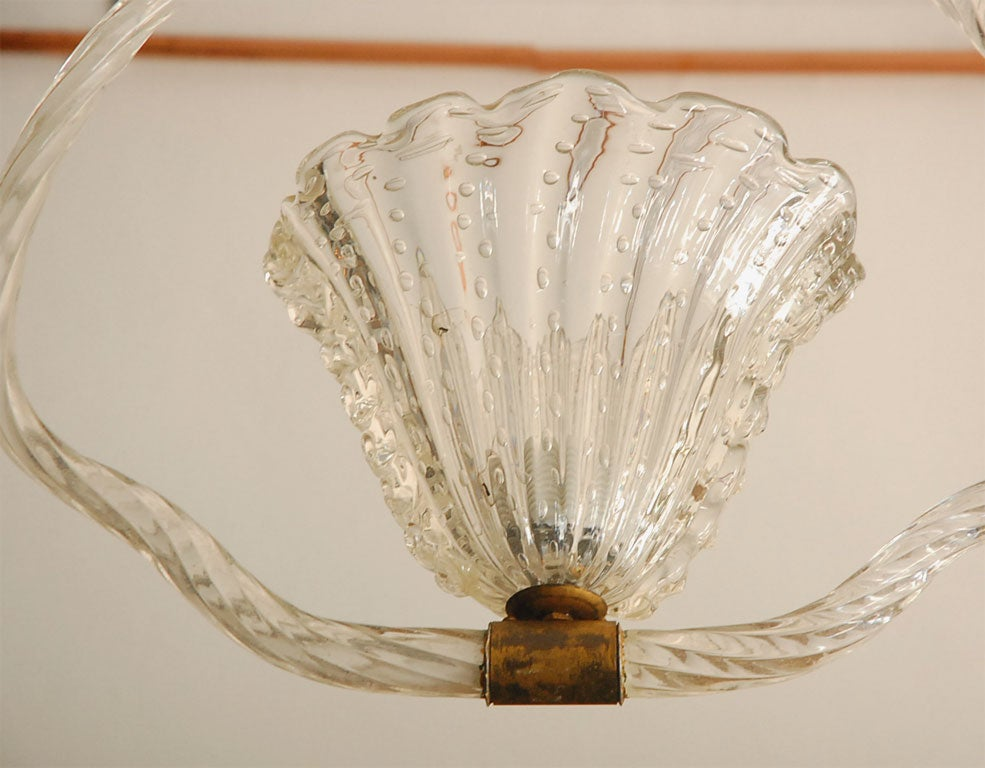 Italian Clear Murano Bubble Glass Hanging Light by Barovier & Toso For Sale