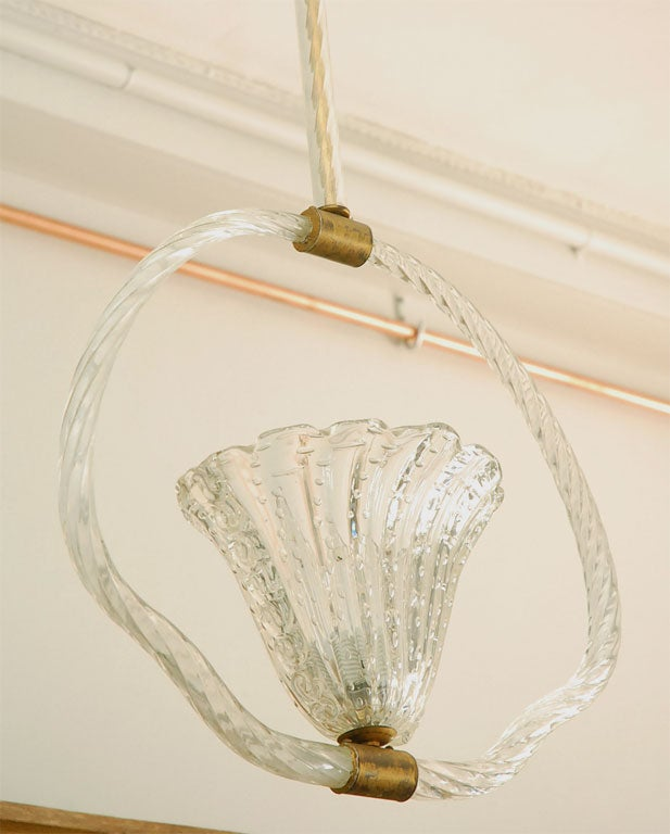 Art Glass Clear Murano Bubble Glass Hanging Light by Barovier & Toso For Sale