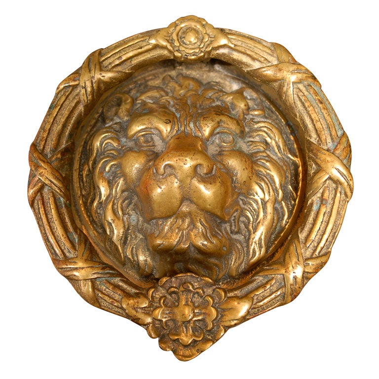 Grand bronze lion head door knocker - Brass lion head door knocker ...