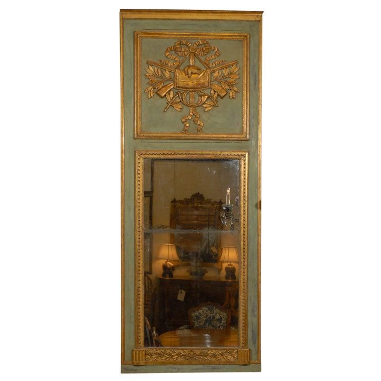 Louis XVI Painted and Parcel Gilt Trumeau, France