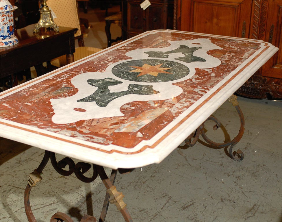 Antique Inlaid Marble Table : Italian inlaid marble top table with iron base at stdibs