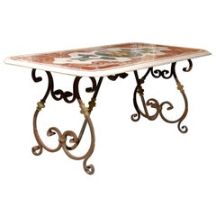 Italian Inlaid Marble Top Table with Iron Base