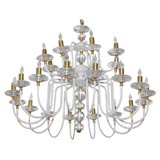 MId-Century White Painted and Brass Chandelier