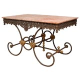 French Marble-Topped Iron Pastry Bakers Table