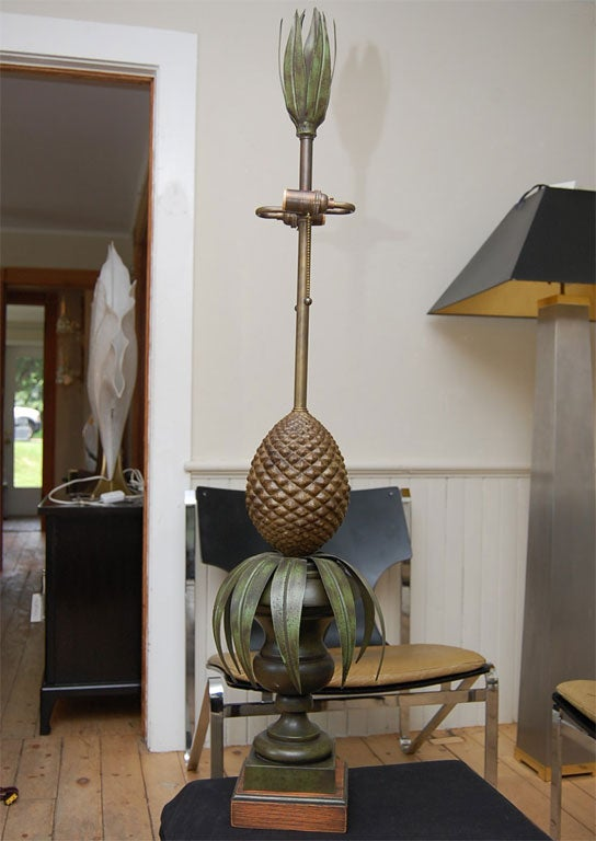 Metal Pair of Tole Pineapple lamps For Sale