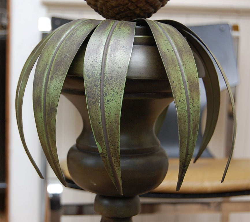 Pair of Tole Pineapple lamps For Sale 3