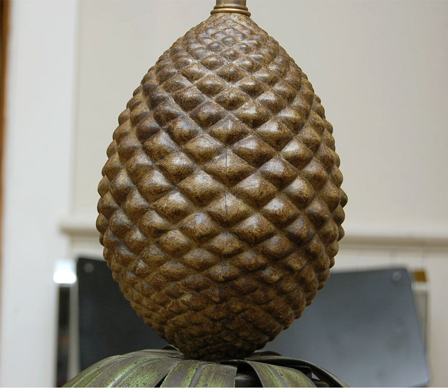 Pair of Tole Pineapple lamps For Sale 4