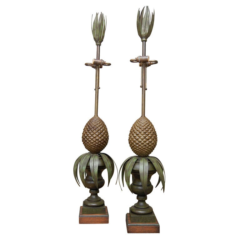 Pair of Tole Pineapple lamps For Sale