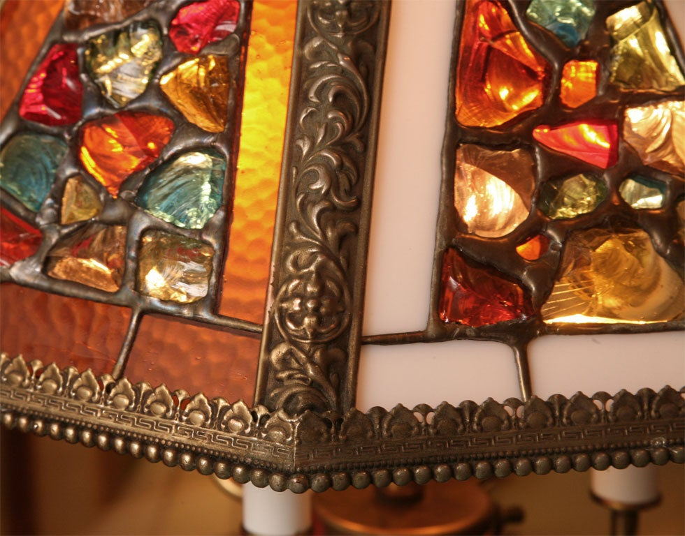 Brass Regency Style Chandelier with Brutal Stained Glass For Sale
