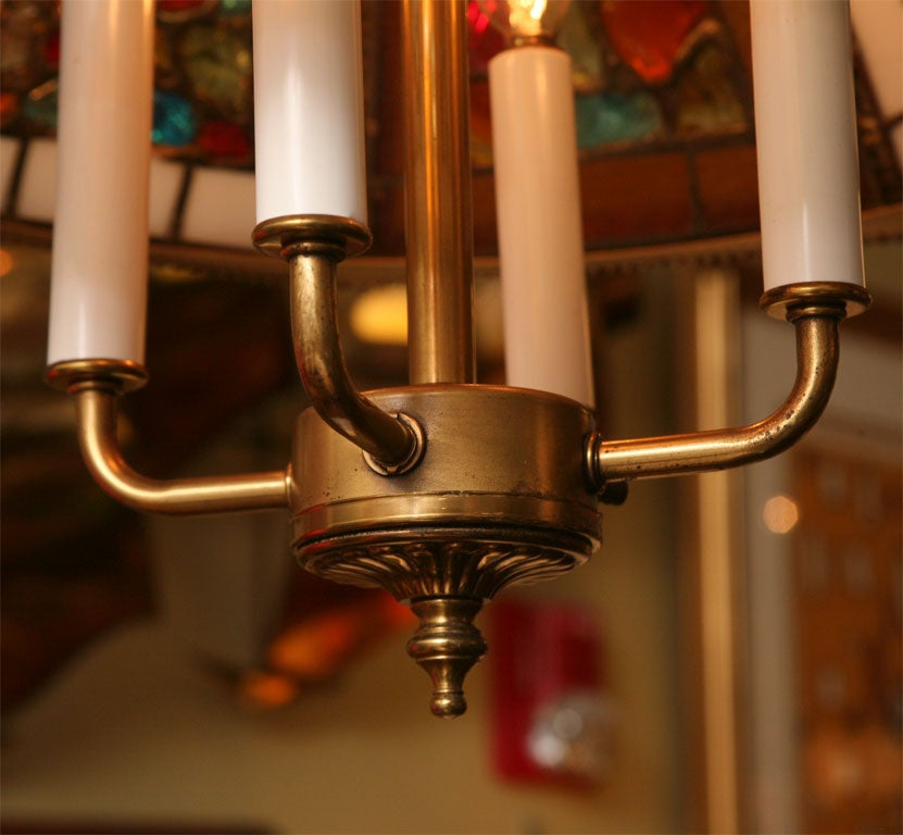 Regency Style Chandelier with Brutal Stained Glass For Sale 3