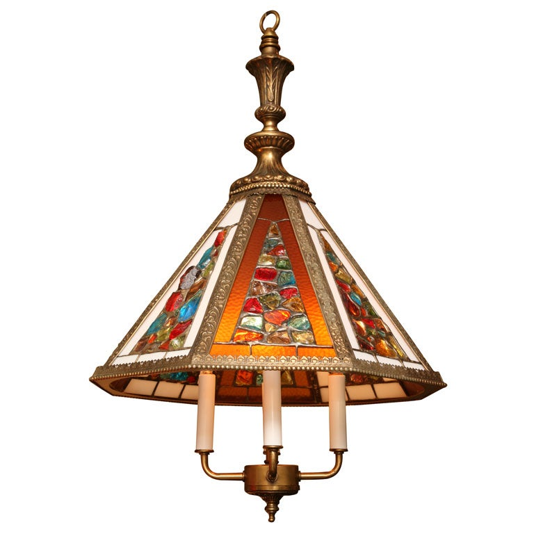 Regency Style Chandelier with Brutal Stained Glass For Sale
