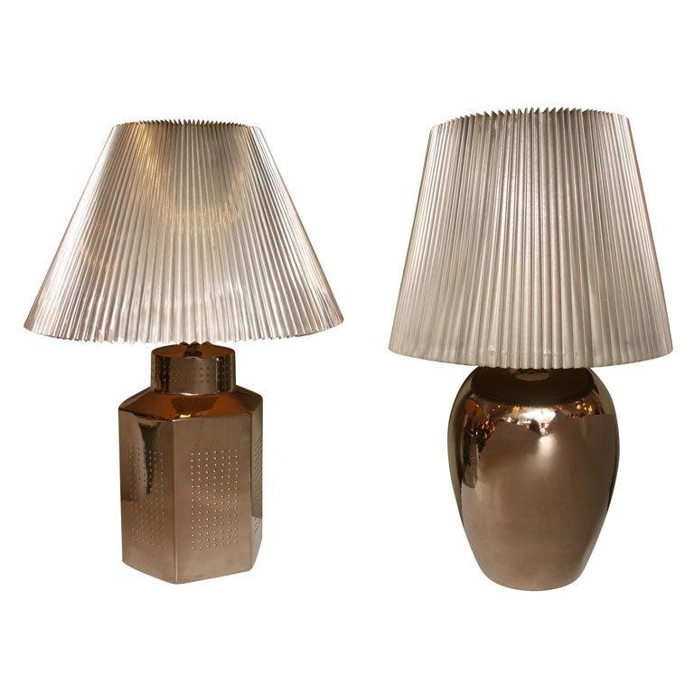 1970s Elegant Mirror Glaze Table Lamps Tyndale