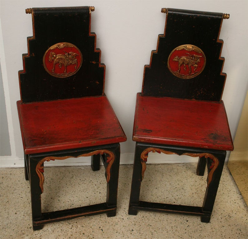 This hand painted hepplewhite style chairs is no longer available - Shanghai Deco Chairs C 1920 At 1stdibs