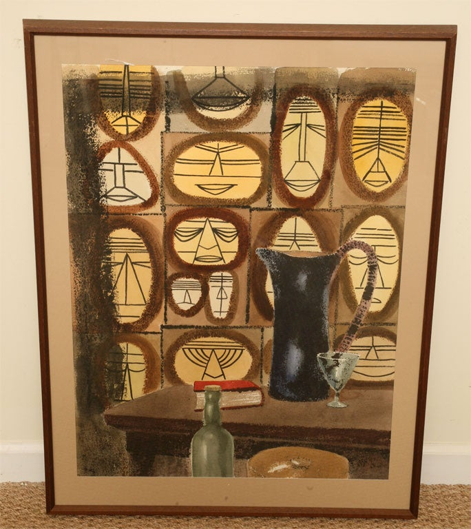 This Mid-Century Modern one of a kind wonderful watercolor of individual faces with African influences is cubistic. Each face is outlined forming an oblong or circle which is then outlined in a black rectangular or square border. Soft colors yet