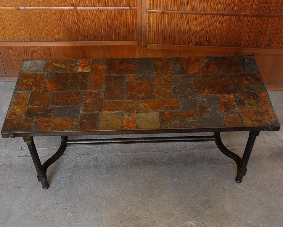 Jacques Adnet Slate Top Coffee Table 3 - Jacques Adnet Slate Top Coffee Table For Sale At 1stdibs