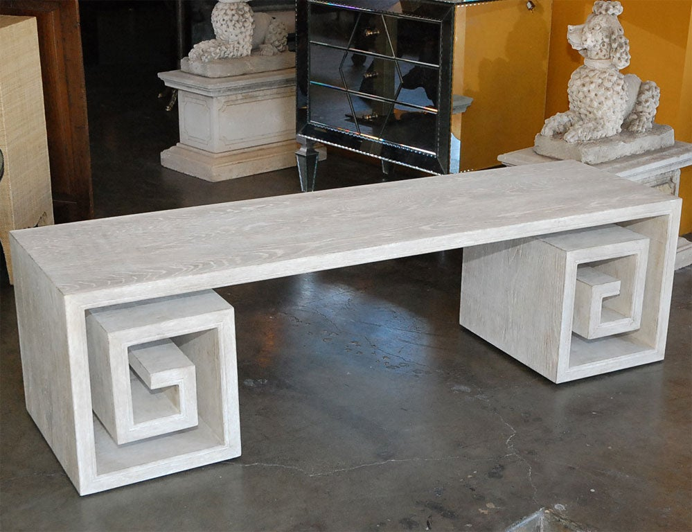 Paul marra solid oak greek key table bench for sale at 1stdibs for Coffee tables homesense